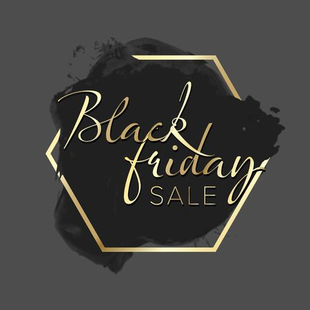 Black Friday sale label - black splash with golden frame and text content 写真素材