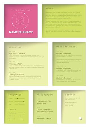 Vector female minimalist cv  resume template with color blocks design - for girls and women