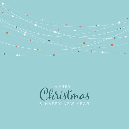Minimalist light retro color Christmas flyer  card temlate with white abstract lights