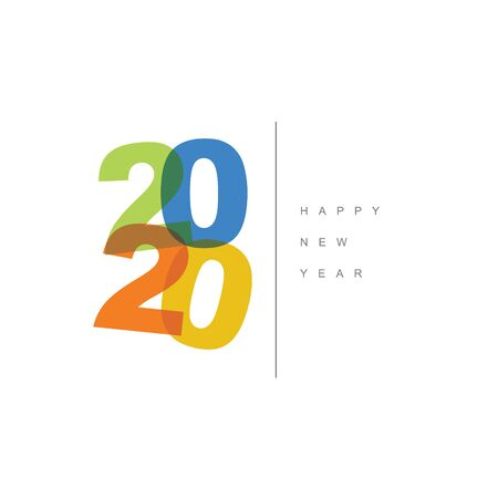 Vector Modern minimalistic Happy new year card 2020 with a big numbers and flat overlay effect 写真素材
