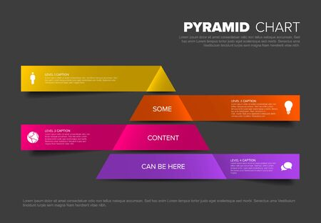 Vector solid Infographic Pyramid chart diagram template with icons - dark red colors