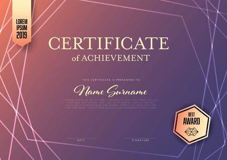 Modern certificate of achievement template with place for your content - horizontal purple design 写真素材