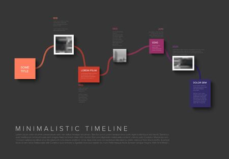 Modern minimalistic horizontal Infographic timeline report template with photos and connection lines - dark purple version 写真素材