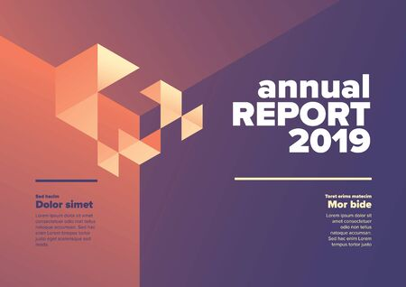 Vector abstract annual report cover template with abstract isometric illustration - purple and yellow version