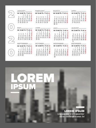 Business card size 2020 calendar template - front and back side - horizontal version 写真素材