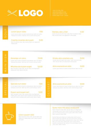 Modern light minimalistic vertical restaurant menu template with yellow accent and nice typography  イラスト・ベクター素材