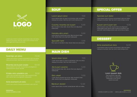 Modern dark minimalistic restaurant menu template with three columns design layout, green accent and nice typography