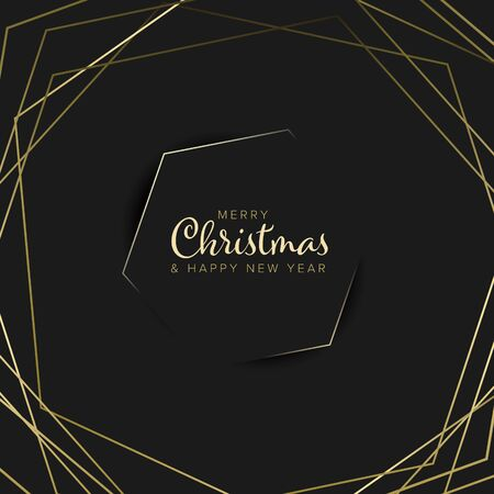 Vector vintage retro christmas label on black background with golden lines