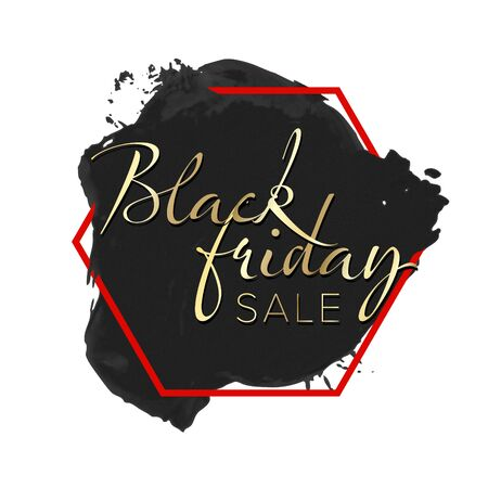 Black Friday sale label - black splash with red frame and golden text content 일러스트