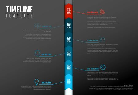 Vector Infographic Company Milestones Timeline Vertical Template  - dark version with blue and red colors