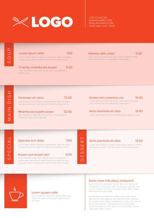 Modern light minimalistic vertical restaurant menu template with red accent and nice typography