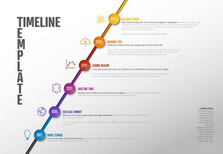 Vector Infographic Company Milestones Timeline diagonal Template  - light version with circles