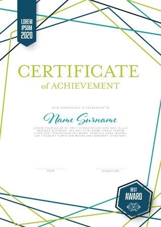 Modern light certificate of achievement template with place for your content - vertical design with white background and green teal accent