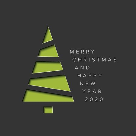 Vector Merry Christmas card with a green minimalistic tree cut of  from paper