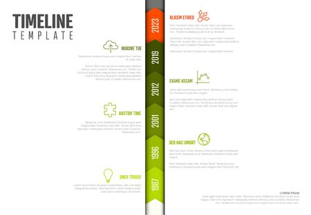 Vector Infographic Company Milestones Timeline Vertical Template  - light version with green and red colors