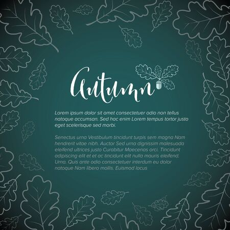 Autumn flyer page layout template - vector retro poster with oak leafs  イラスト・ベクター素材