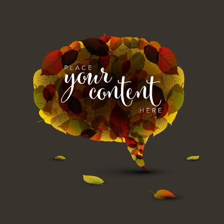 Speech bubble made of colorful autumn leafs with place for your text on dark background  イラスト・ベクター素材