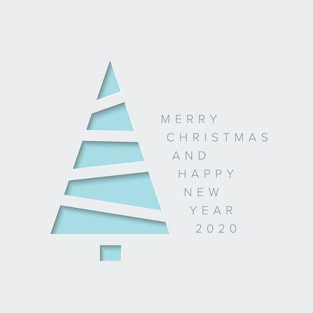 Vector Merry Christmas card with a light blue minimalistic tree cut of  from paper  イラスト・ベクター素材