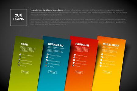 Características del producto tarjetas de plantilla de esquema con suscripción a cuatro servicios, listas de funciones, botones de pedido y descripciones - versión de fondo oscuro
