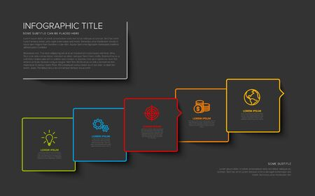 Vector multipurpose Infographic template with five square options and modern colors on a dark background