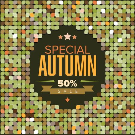 Vector Retro colorfull leafs flyer with sample text (autumn sale)