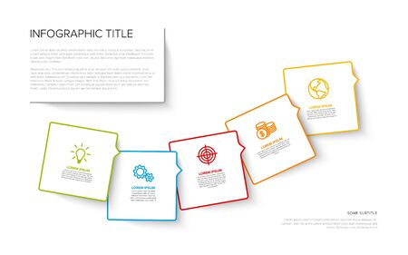 Vector multipurpose Infographic template with five square options and modern colors on a white background