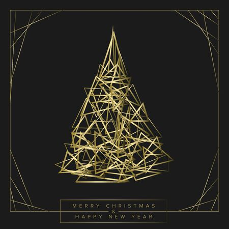 Vector modern trendy christmas card with abstract golden geometry christmas tree on a dark background  イラスト・ベクター素材