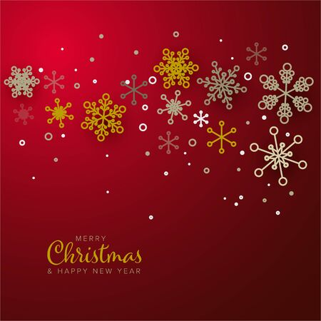 Retro simple Christmas card with golden snowflakes on red  background