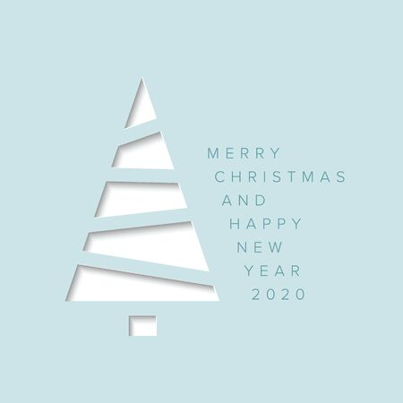 Vector Merry Christmas card with a white minimalistic tree cut of  from blue paper Иллюстрация