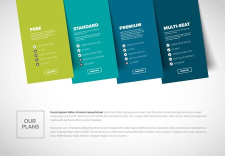 Product features schema template cards with four services subscription, feature lists, order buttons and descriptions - light blue green version