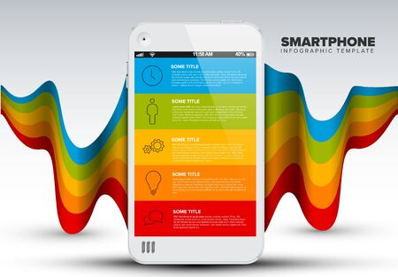 Vector smart phone infographic template with 5 elements, icons, description and place for your content  Иллюстрация