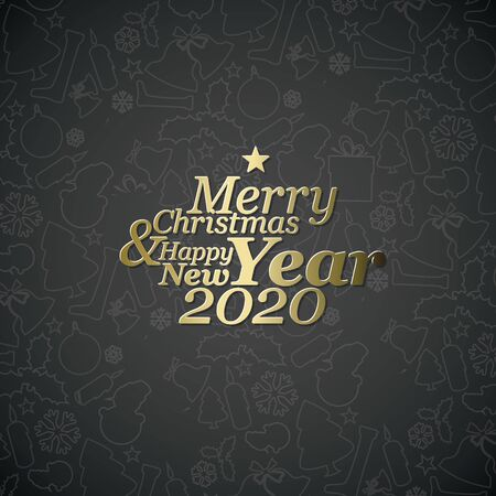 Abstract vector typography Christmas card template with season words and christmas pattern in the background
