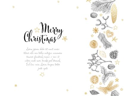 Vector vintage hand drawn Christmas card with various seasonal shapes - ginger breads, mistletoe, cone, nuts
