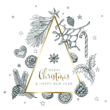 Vector vintage hand drawn Christmas card with various seasonal shapes - ginger breads, mistletoe, cone, nuts and minimalistic triangle christmas tree