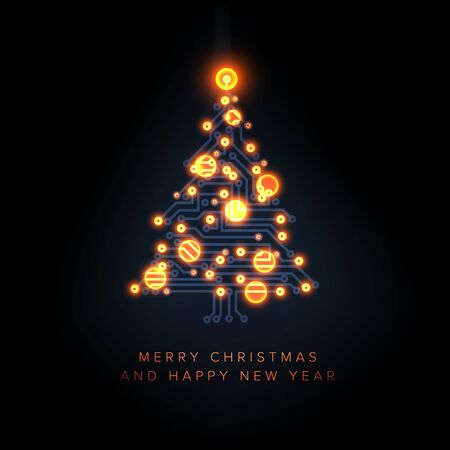Christmas card with christmas tree made from electical circuit and orange lightning baubles