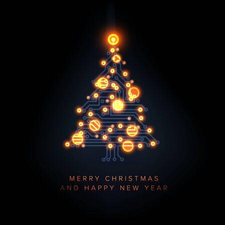 Tarjeta navideña con árbol de navidad de circuito eléctrico y bolas de rayos naranjas