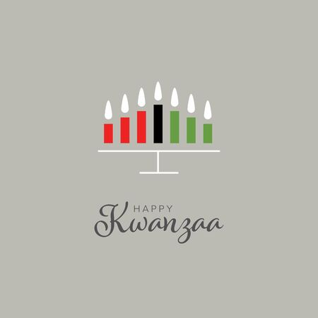 Happy kwanzaa card template with seven candles and place for your text content