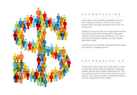 Vector minimalistic crowdsourcing  crowdfunding dollar concept made from people icons