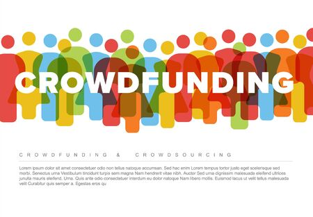 Vector minimalistic crowdsourcing  crowdfunding concept made from people icons Stock Illustratie