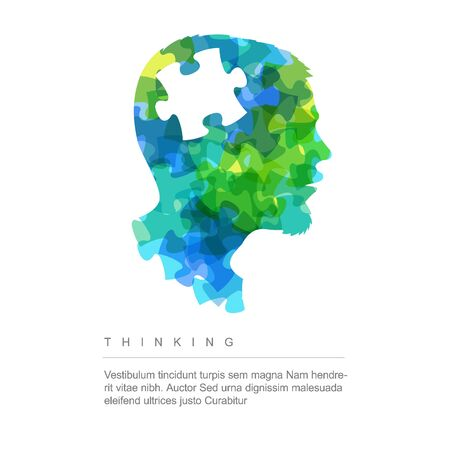 Vector thinking idea concept illustration - head made from colorful puzzle pieces Vetores