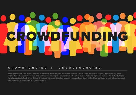 Vector minimalistic crowdsourcing / crowdfunding concept made from people icons - dark version
