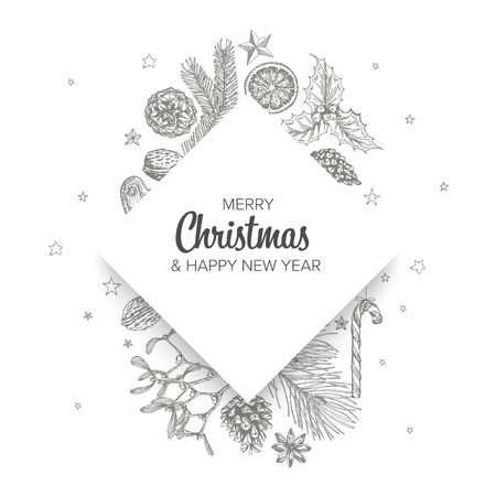 Vector vintage hand drawn Christmas card with various seasonal shapes - ginger breads, mistletoe, cone, nuts and diamond content placeholder