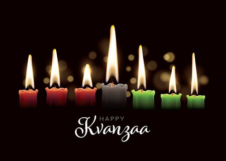 Happy kwanzaa card template with seven realistic candles and place for your text content 向量圖像