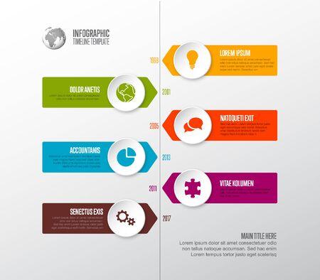 Vector Infographic Company Milestones Timeline Template mit Kreissymbolzeigern auf einer geraden vertikalen Zeitlinie Vektorgrafik