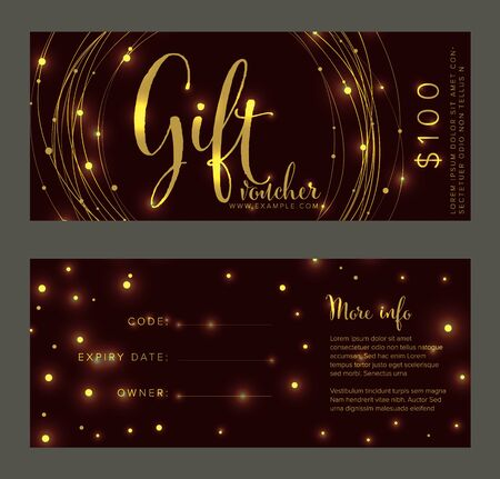 Premium golden gift voucher card print template - front and back layout design