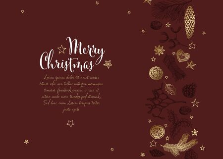 Vector vintage hand drawn Christmas card with various seasonal shapes - ginger breads, mistletoe, cone, nuts - dark red version Standard-Bild - 134851568