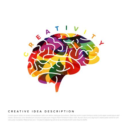 Creative idea concept illustration template made from colorful droplets and a brain icon Иллюстрация