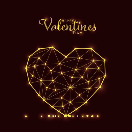 Modern valentines or wedding card template with heart made from triangles and lights
