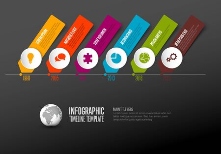 Vector  Infographic Company Milestones Timeline Template with circle icon pointers on a straight time line - dark version