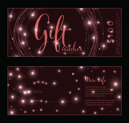 Premium dark and pink gift voucher card print template - front and back layout design